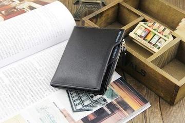 二つ折 財布 小銭入れ カードケース ブラック
