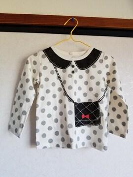 白にグレー水玉、黒のカバン模様の長袖Tシャツ95