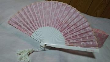 正規 ロエベ アマソナ アナグラム ロゴ扇子 ピンク×ホワイト フリンジタッセル装飾 団扇