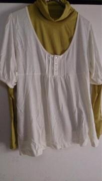 ☆大きいsize☆新品タグ☆ハイネックTシャツ+アウター2set♪3L♯訳あり