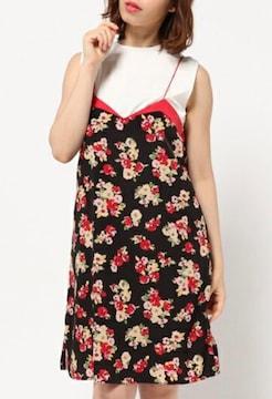 BannerBarrettバナーバレット黒赤花柄フラワーワンピースドレス