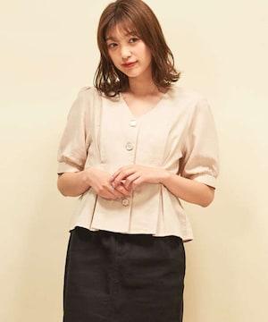 新品☆RETROGIRL(レトロガール)デザイン釦パフ袖ブラウス☆