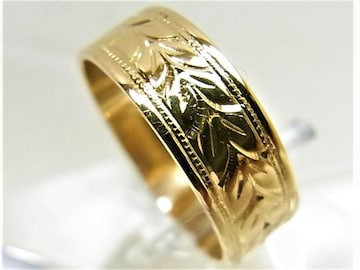 K18 18金 リング 平打 指輪 柄入 サイズ#12 c