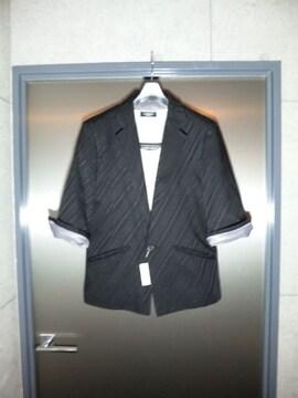トルネードマート〓新品バイアス七分袖ジャケット黒L