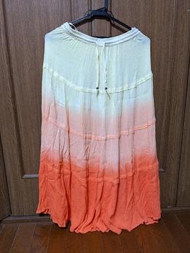 ロングスカート/黄色→オレンジのグラデーション/M