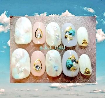 ジェルネイルチップ☆付け爪☆ブルー&ベージュ☆ニュアンス
