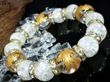 金四神獣水晶§爆裂クラック水晶§金ロンデル数珠