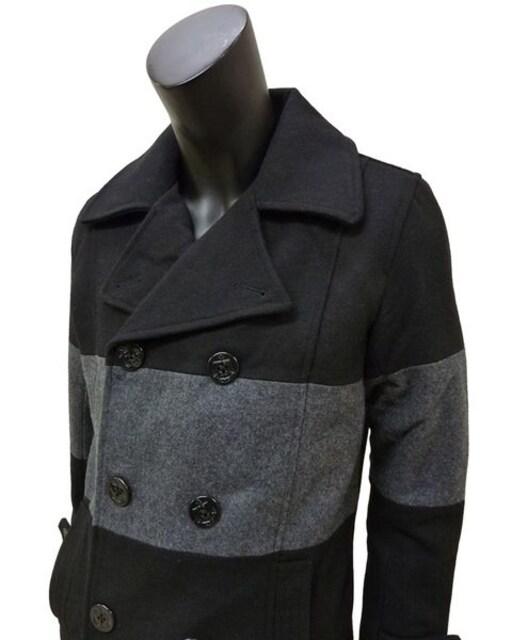 ウールメルトン バイカラー ピーコート 黒 M 43001 < 男性ファッションの