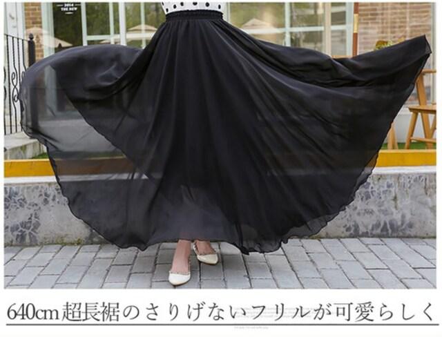 送料無料 【黒M】212超大裾周り640cm 3層100Dシフォン < 女性ファッションの