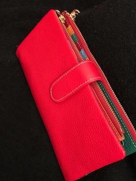 長財布  レザー レッド 赤 多機能 大容量