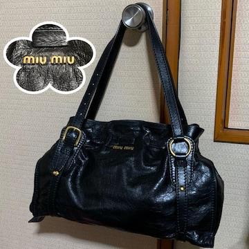 美品 MIU MIU サイドリボン バッグ RR1312 NERO