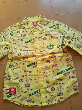 新品BD総柄シャツ120黄ベビードールBABYDOOLベビド