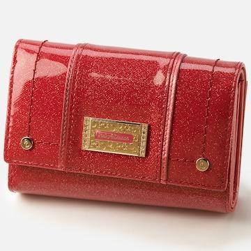 即決〓ピンキー&ダイアン〓折り財布 ラメボルドー赤