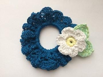 ハンドメイド レースのシュシュ 白いお花♪ ブルー axes好き 青