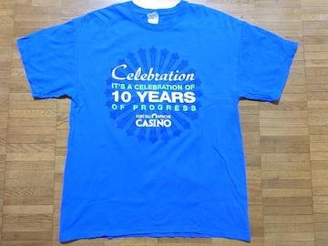 即決USA古着●鮮やかロゴデザインTシャツ青!アメカジ・ヴィンテージ・レア