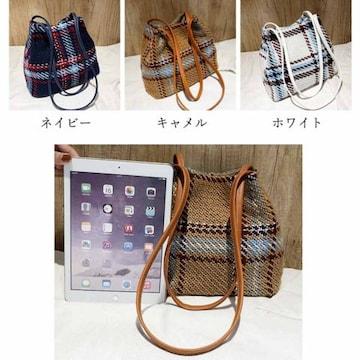 チェック柄 ショルダーバッグ レディース 鞄 カバン 軽量 秋冬 キャンバスバッグ