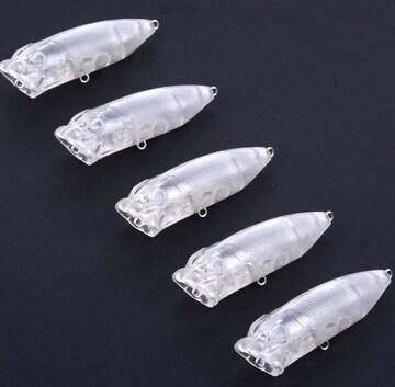 自作! ポッパー クリアルアー ラトル! 7cm/10g 5本セット 1-4