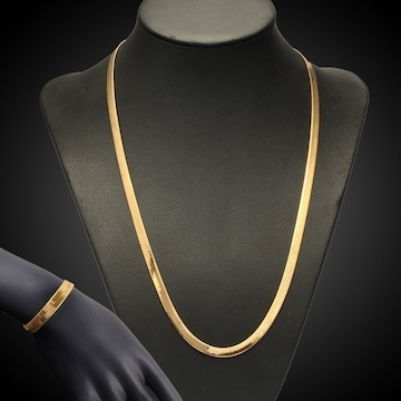 新品18kイエローゴールドGPベネチアンネックレス+ブレスレット