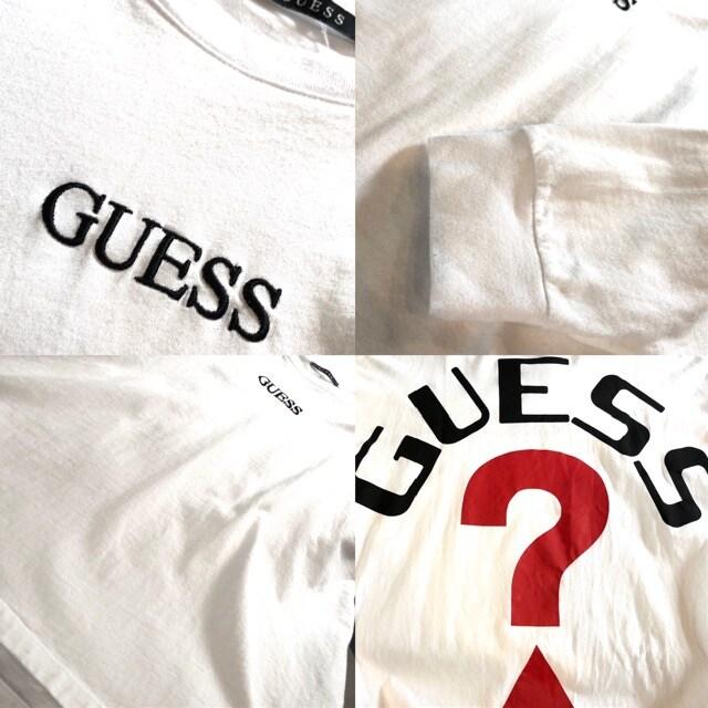 GUESS■ロングTシャツ■ビッグサイズ■バックプリント■ゲス■白 < ブランドの