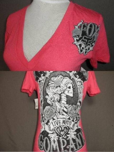 ◆USA購入【フォックス】FOX バックプリントVネックT US XS Pink < 女性ファッションの