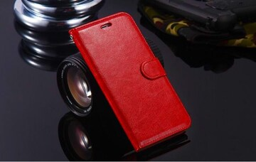 iPhone7 iPhone8 手帳型ケース レザー 液晶フィルム レッド