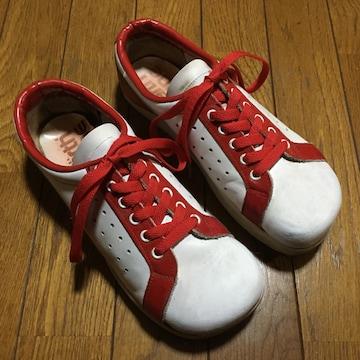ヴィンテージ USA アースシューズ 赤×白 レザースニーカー