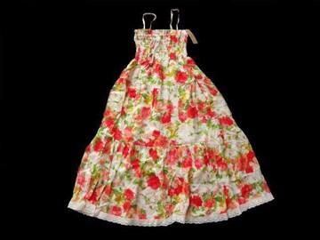新品 sps 赤 花柄 レース使い ベアワンピース マキシ丈 スカート
