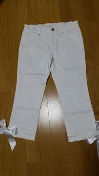 新品 ラストシーン 裾リボン付き クロップドパンツ 白 M