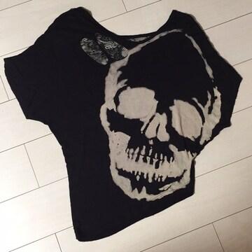 ドクロ☆ブラック黒☆半袖Tシャツ☆カットソー☆アシンメトリー