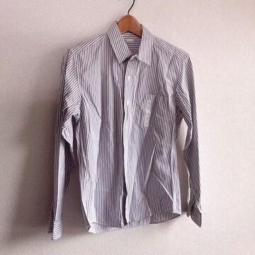 ◆GU/ジーユー◆未使用!!細ストライプ柄長袖シャツ★メンズS*グレー×ホワイト