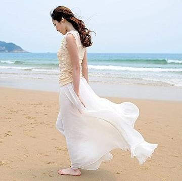 ふんわり★2WAYワンピース&マキシスカート(フリー.ホワイト)