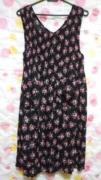 美品 可愛いエプロン(M〜L)黒×花柄・白ドット