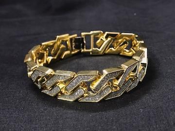 ゴールド ジルコニアフルダイヤモンド ブレスレット