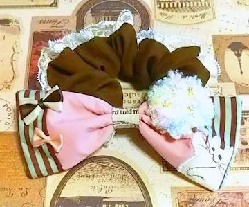ハンドメイド*・゚わたあめ大好きっ☆猫の大きめリボンシュシュ