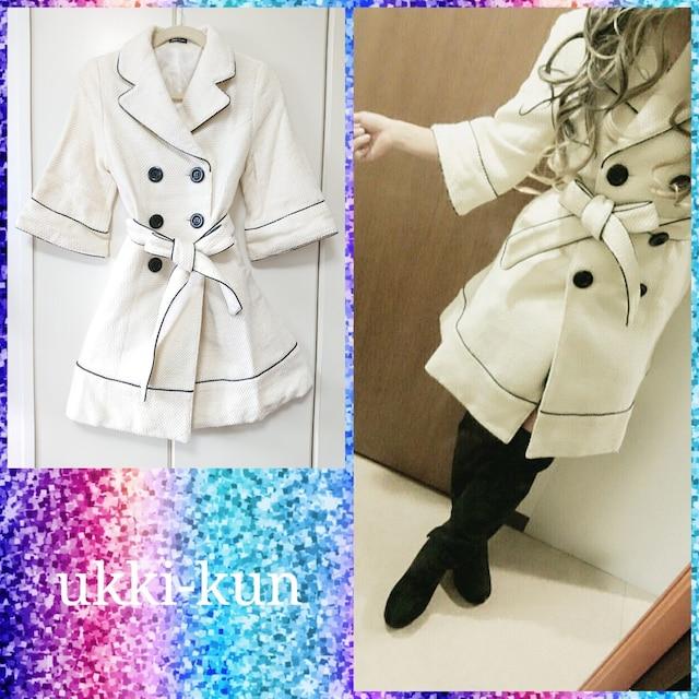 000082 短め袖のピーコート 春 スプリングコート  < 女性ファッションの