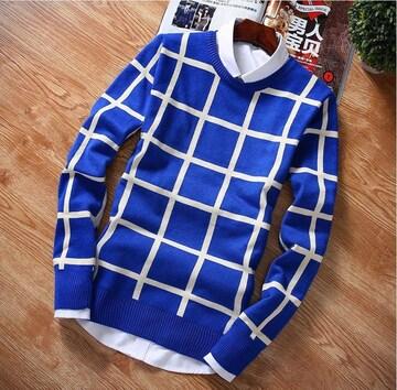 XL XXL ニット セーター 青 メンズ