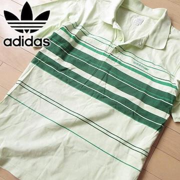 美品 O(XL) アディダス 90's メンズ 半袖ポロシャツ グリーン