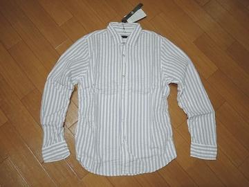 新品ジョンブルJONHBULLシワ加工ストライプシャツ灰白S半額以下