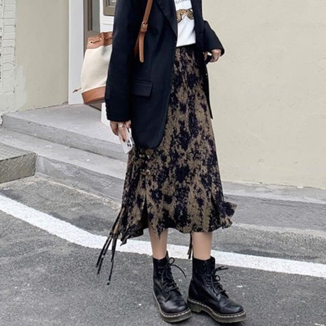 〜4L5L サイドスリット飾り紐コーデュロイスカート < 女性ファッションの