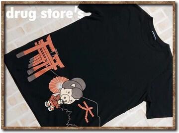 ドラッグストアーズ プリント入りTシャツ 黒