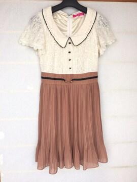 Pinky Girls 切替 レトロ ワンピース S 半袖レース プリッツ N2m