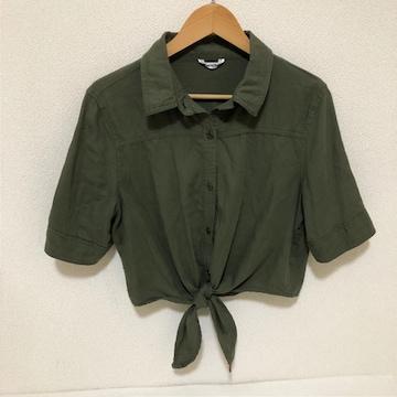 #前結びリボンシャツ カーキL