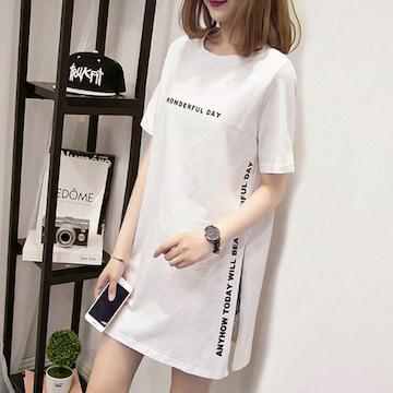 新品 【ホワイト/XLサイズ】カットソー Tシャツ ロング丈