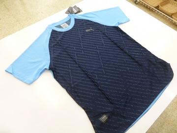 M 紺&水色)プーマ★Tシャツ 517996 半袖丸首裾口楕円形薄手吸水速乾