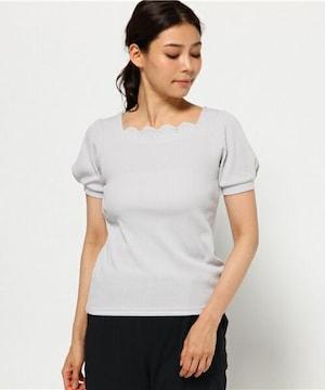 新品タグ付アースミュージックアンドエコロジー半袖スカラップトップスTシャツビジュー