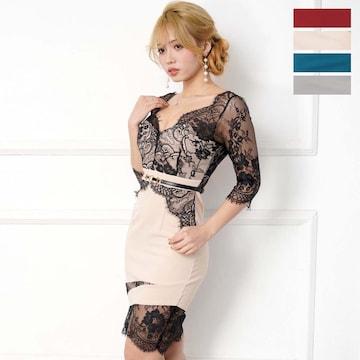レース切り替えデザイン セクシーミニドレス  チャムドレス