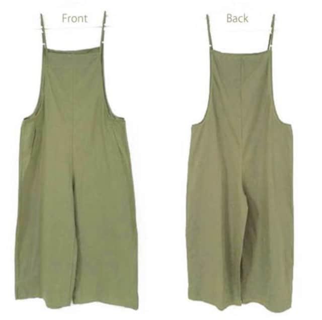 新品【7603】XXXL☆春夏用シンプルなオリーブ色のオールインワン < 女性ファッションの
