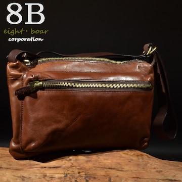 ◆牛本革 デザイナーズ 薄型ショルダーバッグ メンズ◆茶k8