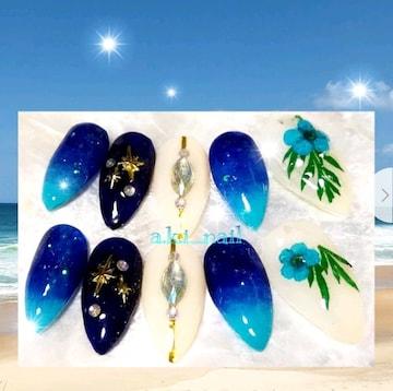 ジェルネイルチップ☆付け爪/ドライフラワー×ブルーグラデーション