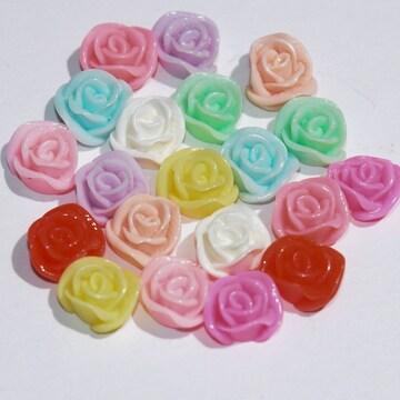 ★10ミリフラワー★薔薇★10色20個★デコパーツ★